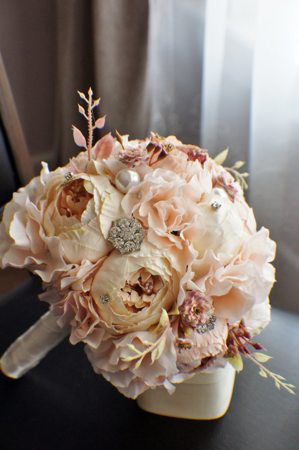 Peony Bridal Bouquet Silk Wedding Flowers Brooch Bouquet