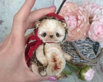 Hedgehog cherry, OOAK Artist teddy toy , stuffed animal soft toy, plushies, collectible