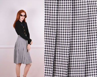 Pleated Black and White Houndstooth Skirt