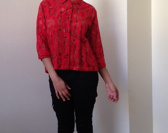 90s Chicos Red Burnout Swirl Asian Style Blouse
