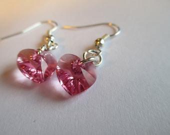 Pink Swarovski Heart Crystal Drop Earrings