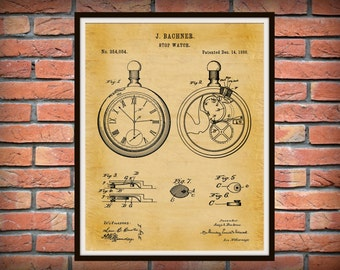 Patent 1886 Pocket Watch #1 - Stop Watch Patent Art Print - Time Piece Patent - Poster - Wall Art - Watch Maker Wall Art