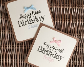 Handmade Personalised Card, Bow Embellishment, Baby Childrens Birthday, Recycled Kraft or Grey Card