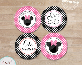 Minnie Cupcake toppers, Hot pink Cake Toppers, Party Circles, Party Decorations, Cake Decor, Minnie party printable  DIY INSTANT DOWNLOAD