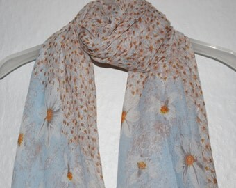 Flower Scarf, Blue Daisy Scarf, Womens Gift, Gift For Her, Spring Summer Scarf, Casual Formal Wear, Floral Accessory, Chrysanthemum Scarf