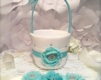 Flower Girl Basket - flower girl sash wedding basket, flower girl sash, aqua sash, aqua wedding, flower girl accessories