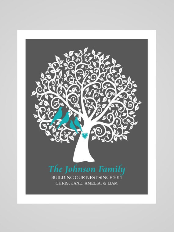 wall art personalized family tree print gift by. Black Bedroom Furniture Sets. Home Design Ideas