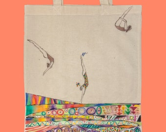 Diving into Imagination Tote bag! hand painted / natural cotton tote / gift under 20 / market bag / fashionable bag