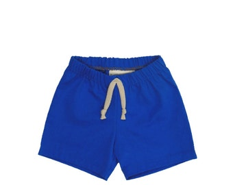 Marine Blue Organic Cotton Shorts: READY TO SHIP in size 6-9 Months - Baby shorts