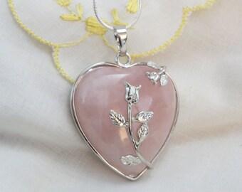 Rose Quartz Heart Pendant on Silver-Plated Snakechain