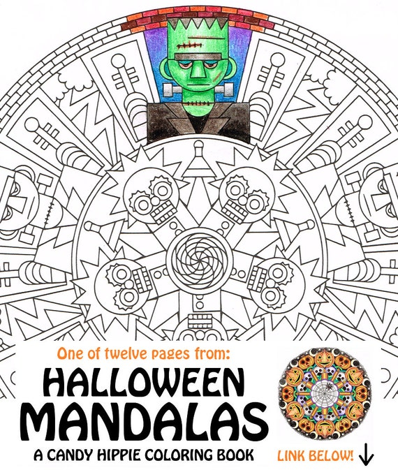 Items similar to Halloween Mandala Coloring Page - Frank 'n ...