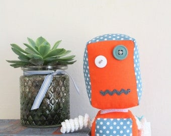 Polkadot Robot Toy // Children's toy // Blue Polkadot // Orange // Robot Toy // Interchangeable heads // Made to order //
