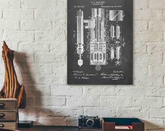 Patent Print - Gatling Gun  - Patent Poster - Gatling - Machine Gun - Faux Vintage