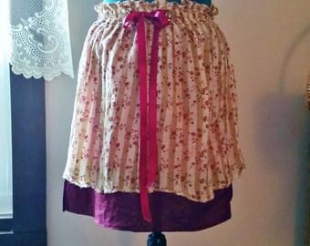 Upcycled Boho Short Skirt, Bohemian Skirt, Shabby Chic Skirt, Upcycled Clothing, Mini Skirt