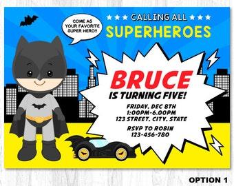 Batman Birthday Invitation, Batman Birthday Invite, Batman Invitation, Batman Invite
