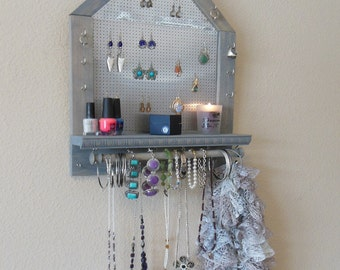 Rustic Jewelry Organizer, Jewelry Storage, Wall Mounted Jewelry Organizer, Pentagon Shape