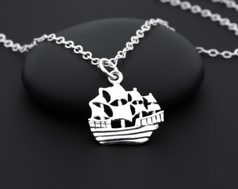 Pirate Ship Necklace, Pirate Necklace, Pirate Jewelry, Sterling Silver, Nautical Jewelry, Boat Necklace, Nautical Necklace, Pirate Gift