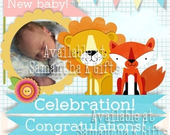 New Baby Personalised congratulations card - With photo