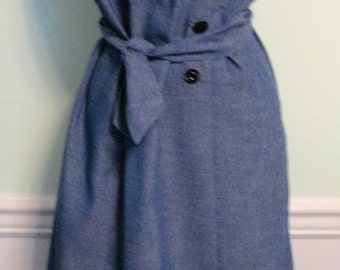 Vintage Dress Chambray Day Denim Blue Scallops