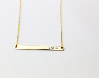 Personalized Name Bar Necklace / Skinny Name Plate Necklace / Hand-Stamped Engraving Initial Monogram Personalized Gift