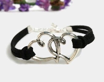 Two hearts bracelet Silver hearts bracelet Suede cord heart bracelet Heart love bracelet Valentine jewelry Gift for her Gift for him