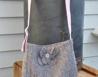 Pink and grey wool Harris tweed bag with pink web belt strap
