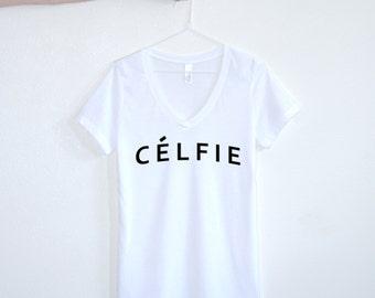 Celfie White Selfie Hashtag  Graphic tee Womens graphic tees Text tshirt Slogan Tee