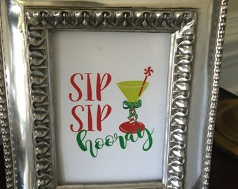 Sip Sip Hooray - Christmas Art Print - Party - Drinks - Martini - Red and Green - 5x7 or 8x10