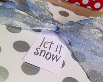 Let It Snow Christmas Gift Tags/Wine Tags/Party Favor Tags - Silver and White - Set of 6