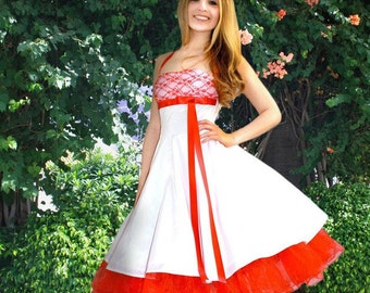 wedding dress with red lace