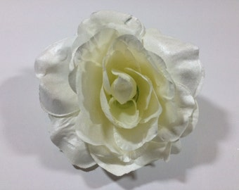 1 Jumbo White Silk Flower Clip Artificial Flowers Scrapbooking Flower Embellishments Craft Flowers
