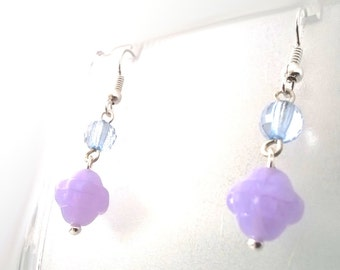 Lilac Purple Floral Amethyst Drop Earrings, Gift for Her, Sterling Silver