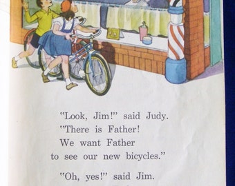 1945 School Reader: Good Times On Our Street Colorful Art