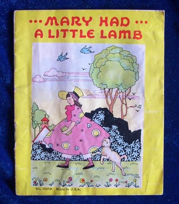 1941 Mary Had A Little Lamb Nursery Rhyme Book Pub Platt