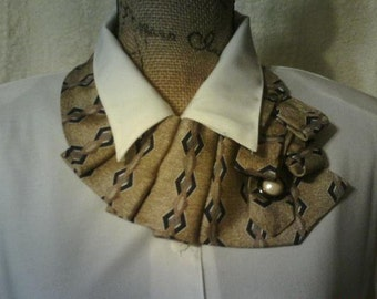 Black and Beige Silk Ascot Necktie Scarf, Collar, Necklace, Shabby Chic Accessory