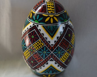 Pysanky, Traditional Pisanki, Ukrainian Easter Egg, Goose egg, floral leaves and petals design, beautiful lines. Stand purchase optional