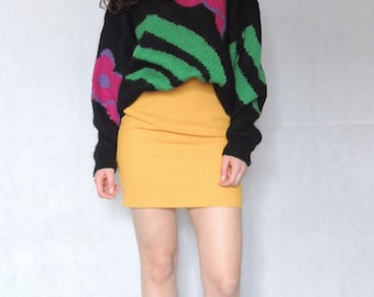 Vintage 80s 90s Yellow Mini Skirt