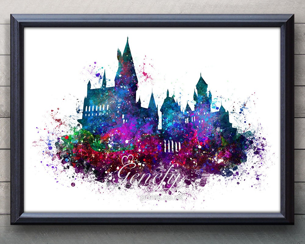 Harry potter hogwarts castle watercolor art poster print for Posters art prints