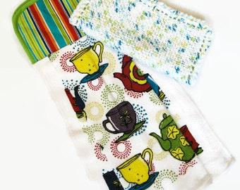 Hanging Kitchen Towel and Dishcloth; Kitchen Set; Tea Cup Towel; Knit Dishcloth