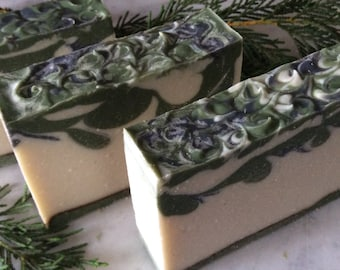 SCOTCH PINE SOAP...With Pine, Rosemary, and Cedarwood Essential Oils, Moisturizing with Shea Butter, Dead Sea Clay, and soothing comfrey