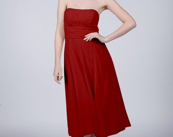 Ruby Red Strapless Short Bridesmaid/Prom Dress by Matchimony