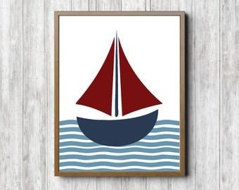 Sailboat Printable Wall Decor - Nautical Boys Room / Nursery Wall Art - Ship Art Print - Blue & Red - Baby Boy - Digital Artwork