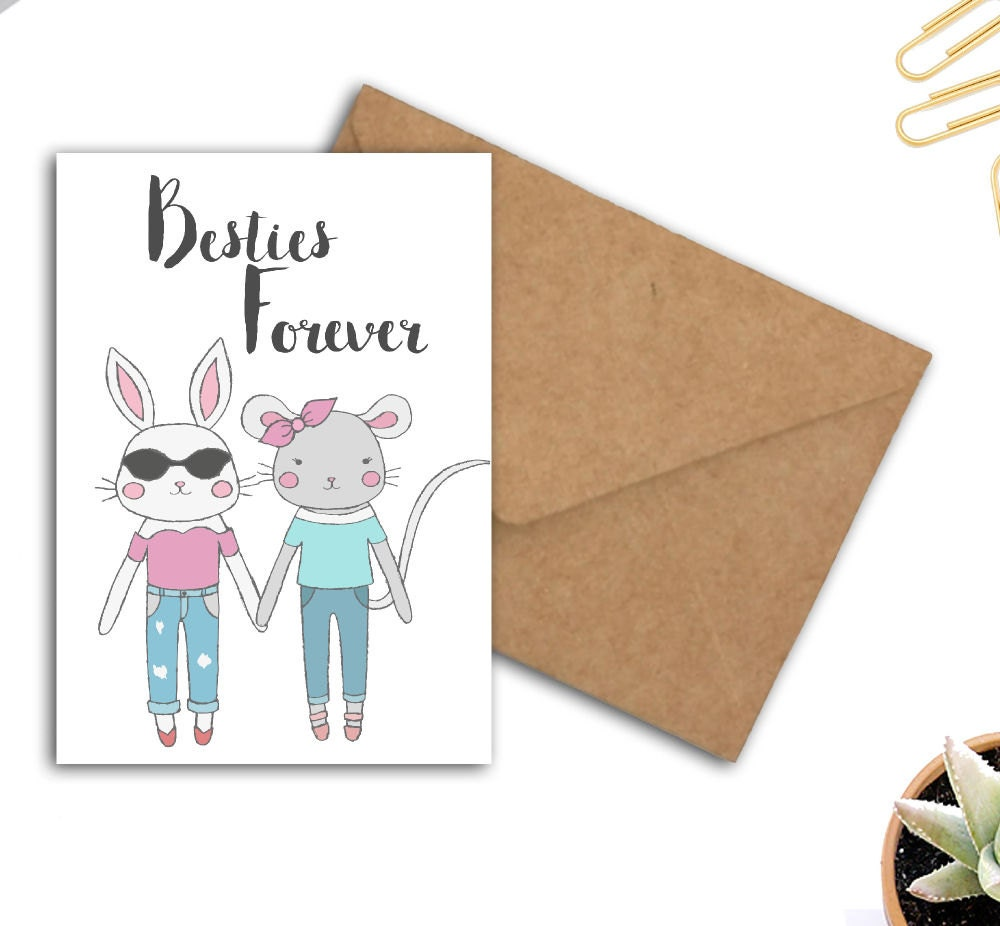 Besties Forever Greeting Card Best Friends Card Whimsical Mouse