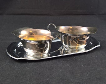 Silver plated cans cans with tray Prima NS set of two milk and sugar serving silverplated set