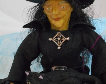 OOAK hand sculpted Miniature 1:12th scale Witch dollhouse doll