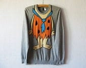 Rolling Flintstones Sweater Fred Funny Cartoon Sweatshirt Cosby Hipster Fun Party Ugly Sweater Men's Size Large Jumper