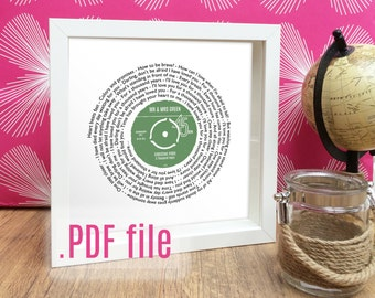 Personalised Anniversary Gift for her | Vinyl Record Label with YOUR DETAILS .pdf | Any song lyrics | 16 colours | A4 size digital download