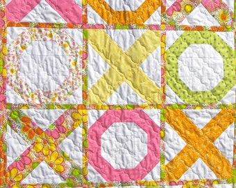 Made to order handmade 'Hugs and Kisses' quilt, handmade cotton modern quilt, bright spring colors, toddler, crib, or little girl quilt