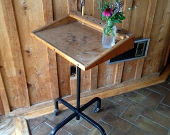 Small Industrial Desk on Wheels//Vintage wood podium// typewriter table// Artists drafting desk// media stand