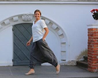 Linen pants, Loose linen trousers, Linen pants with elastic waist and pockets, Linen trousers, grey linen pants, Comfortable women pants